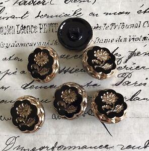 6 Vintage Antique Black Glass W/Gold Indented Flower Buttons