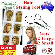 Hair Styling Tool x 4 *2 Large & 2 Small* Topsy Tail Ponytail Braid Ladies Girls