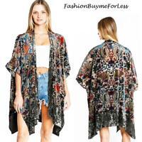 70 Retro Vintage Olive Kimono Velvet Burnout BOHO Bohemian Cardigan Top S M L XL