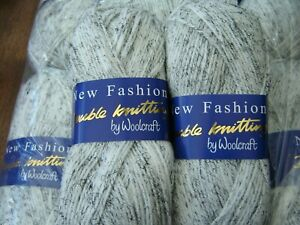 Job lot of dk   knitting yarn wool  white with black strands  10 x 100g   @LOOK@