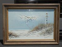 "Vintage ""New England Lighthouse"" Oil Painting Signed Picture ~ Ocean Beach Scene"