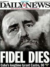 NY DAILY NEWS F/FIDEL DIES CUBA'S LONGTIME TYRANT CASTRO, 90 11/26 FREE SHIPPING