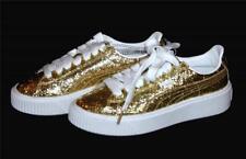 Puma Basket Gold Glitter Specks Clear Overcoat Platform Sneakers Wms 6.5