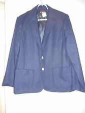 Vintage Women's Size 14 Navy Blue wool Blazer with patch pockets by Russ