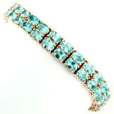 925 Sterling Silber Armband* Roségold beschichtet* 6x4 mm. Neon Blau Apatit* Neu