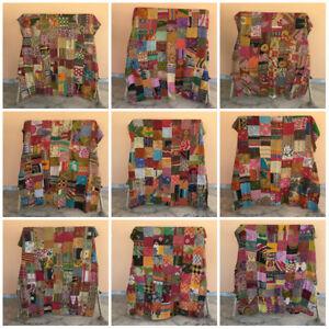 Patchwork Kantha Quilt Blanket Indian Bedding Bedspread Coverlet Reversible Twin