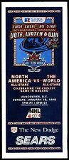1998 NHL ALL-STAR GAME UNUSED BALLOT at VANCOUVER CANUCKS GENERAL MOTORS PALACE