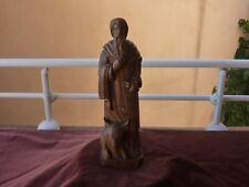 statue religieuse,Saint Luc,chene,ancien travail,19ème siècle,H 32cm