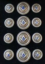 Blazer Jacket buttons circular S&C silver plated enamel Masonic Freemasonry