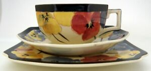 Royal Doulton Art Deco Pansy Trio  Of Cup Saucer & Plate  D4049 - c.1930S
