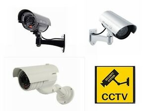 FAKE DUMMY CCTV SECURITY CAMERA FLASHING LED INDOOR OUTDOOR SURVEILLANCE