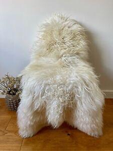XXL Large Genuine Icelandic Sheepskin Sheep Rug Ivory Cream Real Long Curly Fur