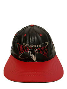 Vintage Atlanta Falcons 90s Leather Hat Adjustable Cap Black and Red Made in USA