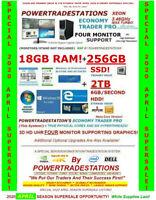 DELL 4MONITOR TRADING COMPUTER XEONMAXTURBO 3.46GHz 256GBSSD 2TBHDD 18GBRAM W10
