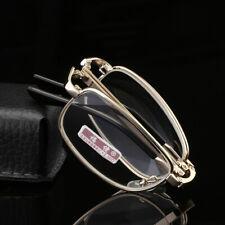 Folding Portable Metal Full Rim Reading glasses For reader Gold ,glass lens