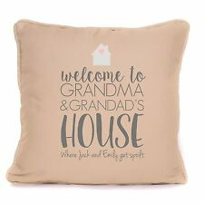 Welcome To Grandma & Grandad's House Personalised Cushion Gift From Grandkids
