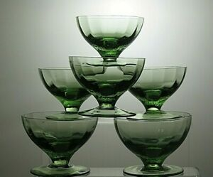 Antique Glass Green Dessert bowls Or Footed dishes set of 6