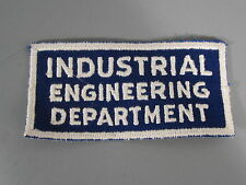 Industrial Engineering Department Patch / New Old Stock / FREE Ship