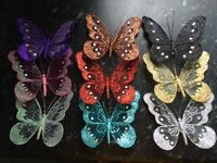 1x Decorative Glitter Jewelled Clip-on Butterfly - 18cm Butterflies Wedding
