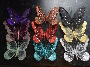 18cm Glitter Jewelled Clip Butterfly Butterflies Large Wedding Decorative Mesh