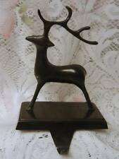 CHRISTMAS STOCKING MANTLE HOLDER REINDEER DECORATION Heavy Cast Metal RARE