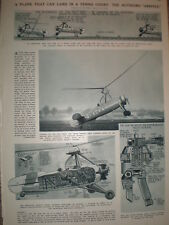 Article the helicopter aeroplane the Autogiro 1933