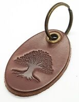 Leather key ring with Tree design Chestnut colour leather tree of life key fob