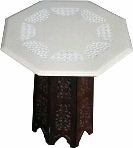 """15"""" White Marble Octagon Table Top Filigree Handmade Home Decors With Stand W476"""