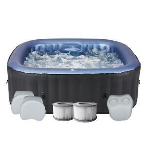 Spa gonflable carré 6 places TEKAPO gris  +set confort + 2 filtres supplémentair