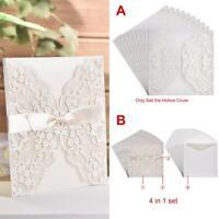 10PCS Greeting Cards Lace Ribbon Invitations Laser Cut Wedding Party Envelope