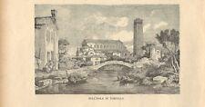 Stampa antica VENEZIA Isola di TORCELLO Ponte Diavolo 1885 Antique print Venice