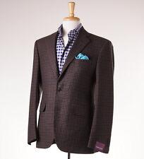 NWT $3095 SARTORIA PARTENOPEA Brown-Emerald Check Wool-Cashmere Sport Coat 44 R