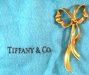 Tiffany & Co Vintage Bow Brooch 1985 18kt Gold with Box & Bag 8.2 Grams