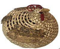 Vtg Rooster Chicken Handmade Woven Wicker Basket W/Lid Boho Rattan Farmhouse EUC
