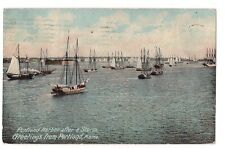 Sailboats Boats Ships Portland Harbor After A Storm Maine Postcard Me 1910 Db