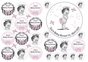 EDIBLE PERSONALISED BABY SHOWER BABY GIRL BOY ICING CAKE & 24 CUPCAKE TOPPERS