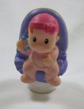 Fisher Price Little People BABY GIRL in CAR SEAT PINK SLEEPER w/ HAT RATTLE Rare
