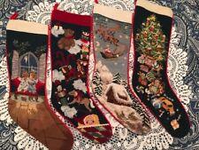 YOU CHOOSE! - SFERRA Needlepoint Christmas Stocking   BLUE Group