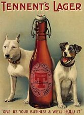 Vintage Tennents Dog Lager Beer Metal Steel Sign Plaque