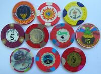 $5 Casino Chips LAS VEGAS, RENO & US - LOT of 10 CHIPS - O'Shea's, Rendezvous +