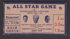 1936 ALL STAR GAME TICKET STUB BOSTON JOE DIMAGGIO 1ST AS GAME LOU GEHRIG HR