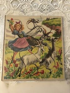 Vintage Playskool Little Golden Book Puzzle 'Heidi & Her Goats'