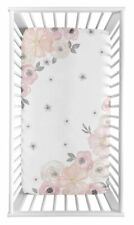 Watercolor Floral Fitted Crib Sheet by Sweet Jojo designs Open Package Pink Gray