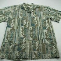 Reyn Spooner Men Hawaiian Shirt Green Floral Short Sleeve XL Button Front Aloho