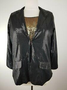 SIXTH SENSE Schöner Pailletten Damen Blazer Jacke Schwarz Black Coat Jacket Gr L