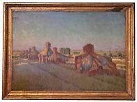"ABRAHAM NEUMANN (POLISH, 1873-1942) ""WHEAT STACKS"" OIL ON BOARD - MUSEUM QUALITY"
