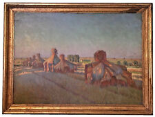 "ABRAHAM NEUMANN (POLISH, 1873-1942) ""WHEAT STACKS"" OIL ON BOARD - MUSEUM QUALITY"