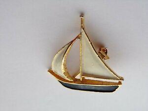 Vintage Enamel Sailboat  Brooch