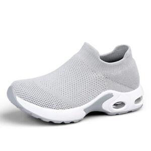 Damen Slipper Sock-Sneaker Strick Mehrfarbig Elastisch Luftkissen Jogging Lauf B