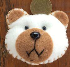 1:12 Scale Brown & White Teddy Bear Face Cushion Tumdee Dolls House Accessory